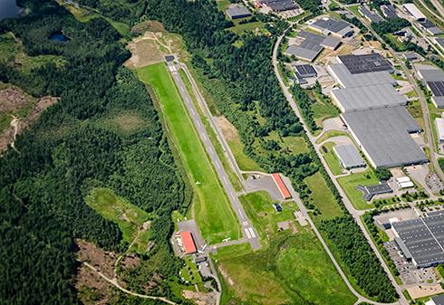 Flygbild över Borås flygplats